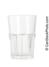 front view of empty water glass on white background