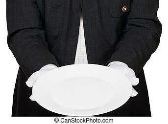 front view of empty white plate in hands in gloves