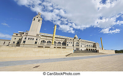 Front view of Estadi Olimpic Lluis Companys in Barcelona