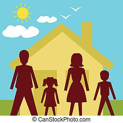 Front view of family standing in front of a house