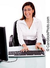 female working on compute