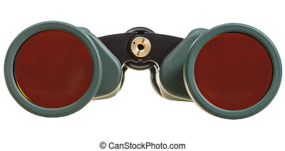 front view of field glasses isolated on white