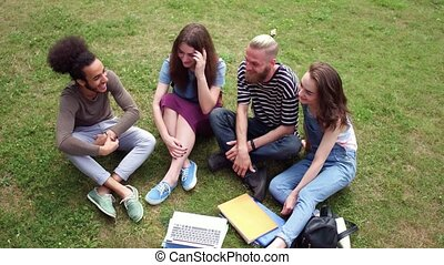 Front view of four college friends sitting on lawn talking.