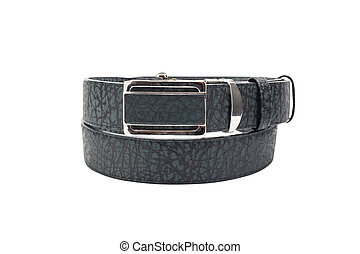 green and black leather belt isolated on white background