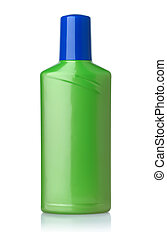 Front view of green plastic bottle