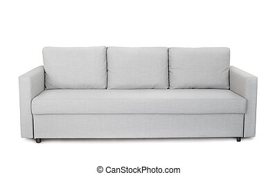 Front view of grey sofa
