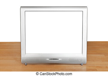 front view of grey TV set display on table