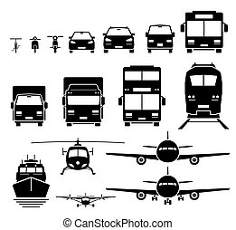 Front view of ground, air, and water transportation vehicles icons set.