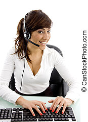front view of happy customer care executive with headset in ...