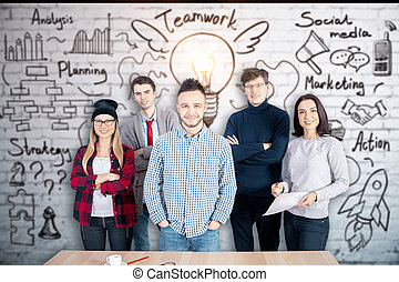Achievement concept - Front view of happy young caucasian...