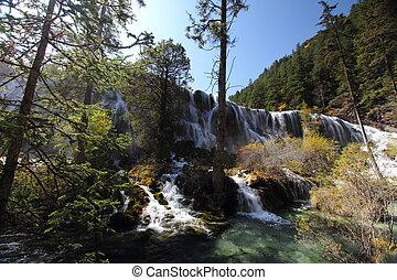 Front view of Jiuzhaigou waterfall