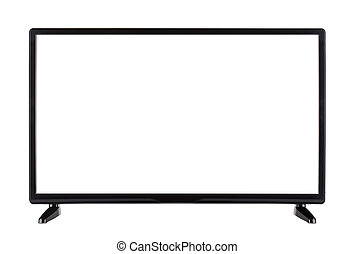 Front view of modern empty black flat screen TV