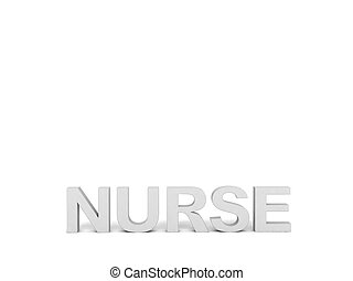 front view of nurse word in gray color