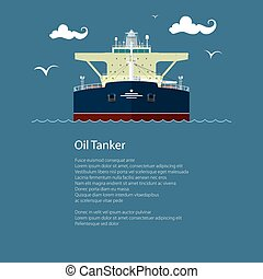 Front View of Oil Tanker and Text