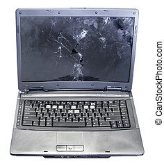 front view of old broken laptop isolated