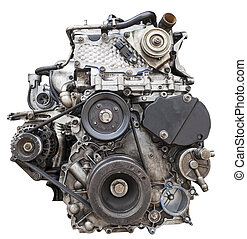 front view of old diesel engine isolated white background...