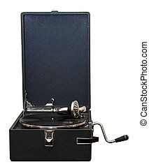 Front view of old gramophone with handle and black vinyl record.
