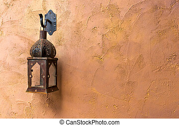 Front view of Old Steel Rust Lamp