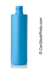 Front view of open blue plastic bottle