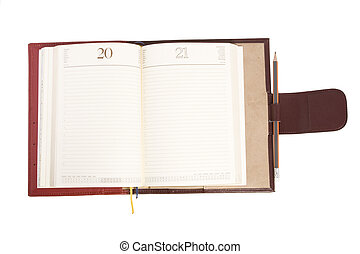 open notebook - front view of open notebook on white ...