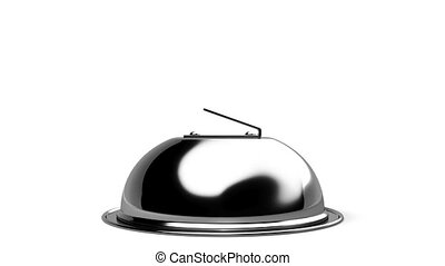 Front View Of Opened Cloche. 3D render illustration....