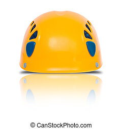 front view of orange climbing helmet