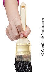 front view of painter hand with black paintbrush