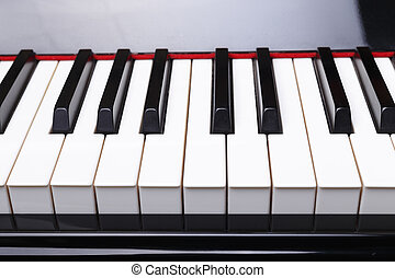 Front view of Piano keys.