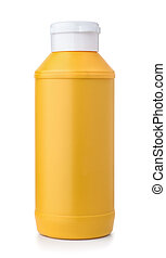 Front view of plastic mustard bottle