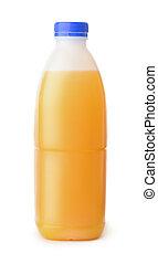 Front view of plastic orange juice bottle