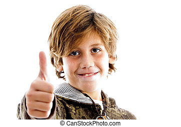 front view of pleased kid with thumbs up