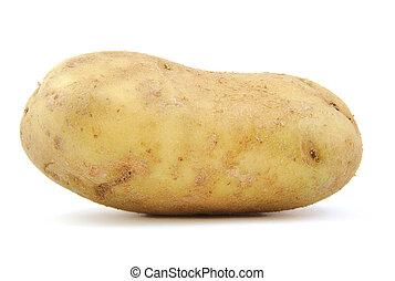 Front view of potato on white background.