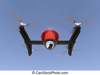 Front view of red drone with camera