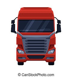 Front View of Red Truck, Cargo Delivery Semi Truck Flat Vector Illustration