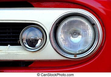Front view of red truck headlihgt
