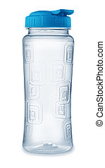 Front view of reusable plastic water bottle