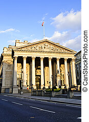 Royal Exchange building in London - Front view of Royal...