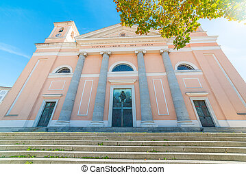 Front view of Santa Maria della Neve cathedral in Nuoro