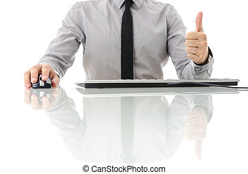 Front view of satisfied businessman
