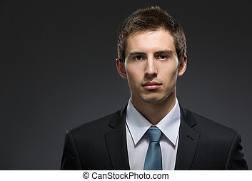 Front view of self-confident business man
