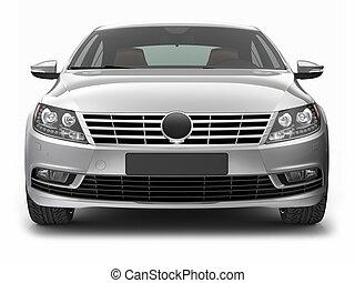 Front view of silver sedan car - Sedan car on a white ...