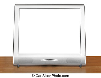 front view of silver TV set display on table