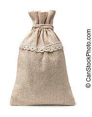 Front view of small blank burlap sack