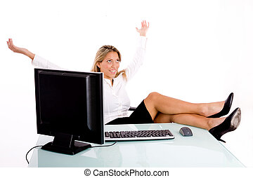 front view of smiling businesswoman in office