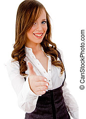 front view of smiling female offering handshake on an isolated background