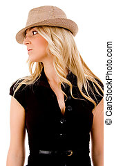 front view of smiling female wearing hat on an isolated background