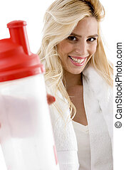 front view of smiling female with sipper bottle