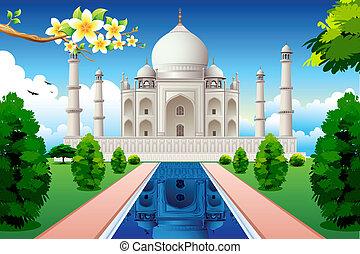 Front View of Taj Mahal - illustration of front view of taj...