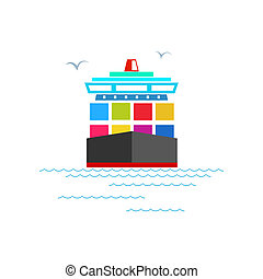 Front View of the Cargo Container Ship