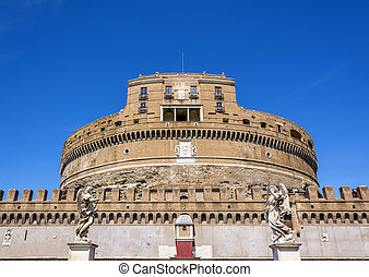 front view of the famous Castel Sant Angelo (castle of the holy angel) in Rome